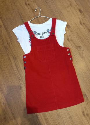 Красный вельветовый сарафан + футболка xs-s