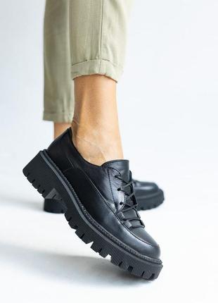 Женские туфли кожаные весна/осень черные