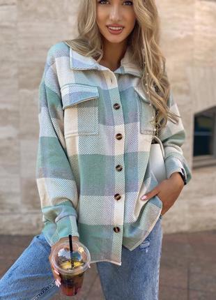 Рубашка пальто женская классическая рубашка клетка