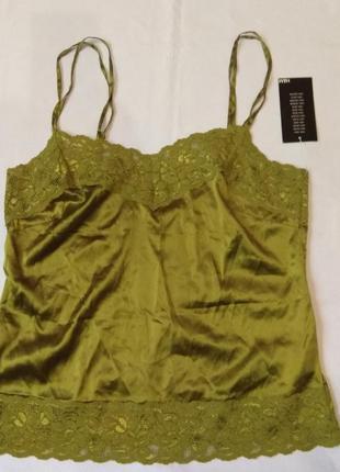 Женская шелковая кружевная майка h&m размер 40- l.  оливковая майка