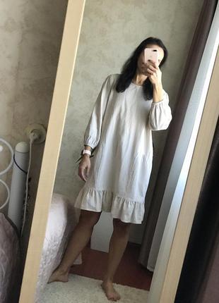 Свободное хлопковое платье платье свободное оверсайз льняное платье
