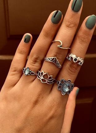 Набор колец 6 штук голубой камень лотос слоны / большая распродажа!