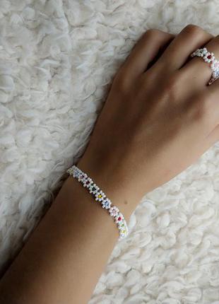 Кольцо и браслет из бисера ромашки, набор украшений