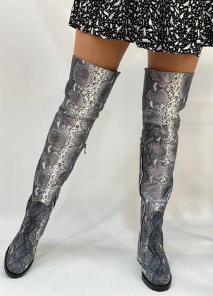 Шкіряні ботфорти пітон високі осінні зимові сапоги кожаные ботфорты высокие сапоги осень зима