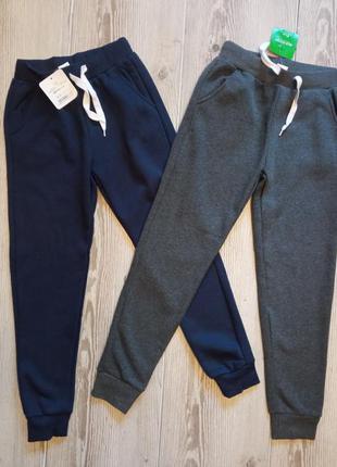 Штаны спортивные утепленные на флисе р.134-164 glo-story синие / серые