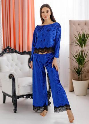Mito шерри комплект пижама электрик  мраморный велюр с черным кружевом женский