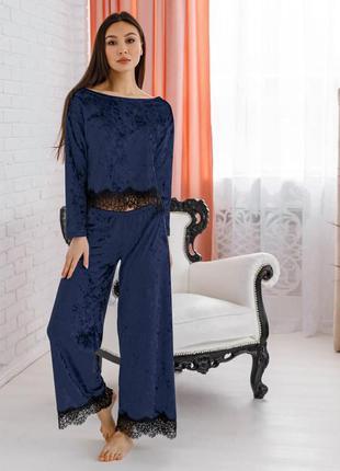 Mito шерри комплект пижама темный синий мраморный велюр с черным кружевом женский