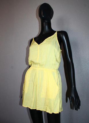 Стильный базовый тонкий легкий желтый лимонный комбинезон ромпер с шортами вискоза h&m s-м