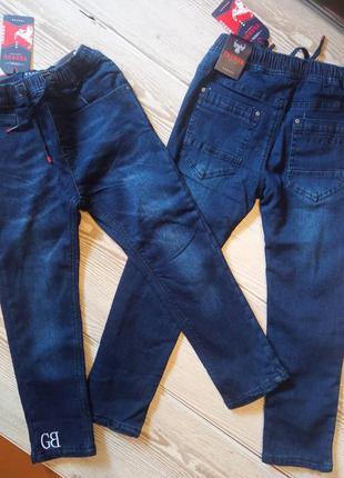 Детские теплые джинсы на завязках венгрия taurus 128/134-146