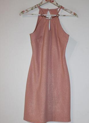 Платье пудровое с золотым напыление и украшением