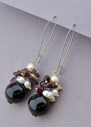 Серьги женские натуральные камни гранат , агат , жемчуг , сережки