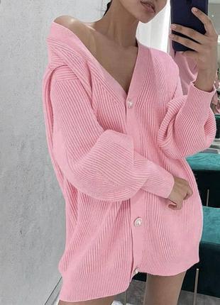 Кардиган вязанный розовый