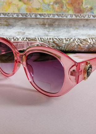 Эксклюзивные розовые округлые солнцезащитные женские очки