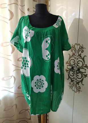 Женская котоновая футболка большой размер батал натуральная ткань