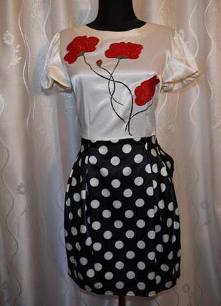 Новое роскошное платье! стразы+принт маки! ликвидация!