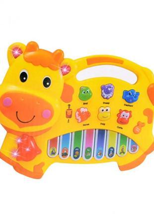 Детский музыкальный орган 1601 со звуками животных (желтый)