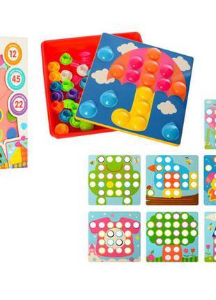 Детская развивающая мозаика 2929-81-1, 12 картинок и 45 фишек