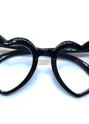 Очки женские имиджевые нулевки кошачий глаз сердце в черной оправе