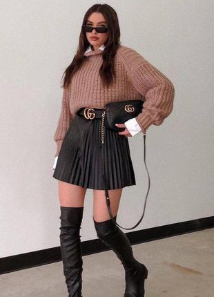 Трендовые юбки трапеция плиссе 🤩  🌈 чёрные, беж 〰️арт. 339 🔻размеры: s, m, l, длина 40см