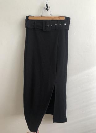 Cropp юбка миди с разрезом и поясом актуальная трендовая юбка с разрезом длинная юбка