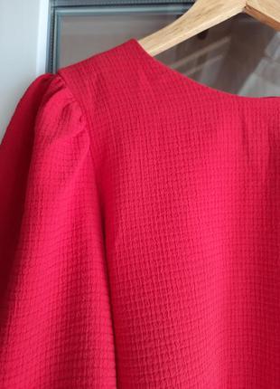 Блузка блуза топ неон фуксия рукава буфы hm h&m