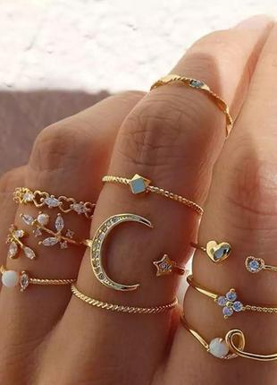 Набор колец 10 шт. кольцо золотистые каблучка
