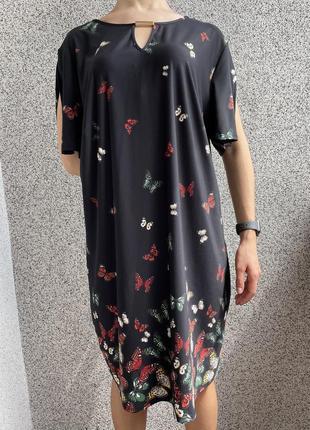 Платье с бабочками, метеликами чорне f&f, черное платье в разноцветный принт.