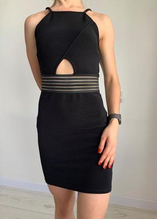 Сукня міні чорное платье святкова сукня сексуальное платье  с прозрачными вставками