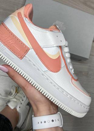 Женские кожаные кроссовки найк,air force 1 shadow white orange