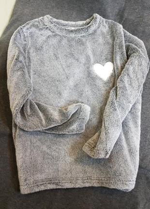 Кофта,плюш,верх от пижамы,мягкая,теплая,серая.
