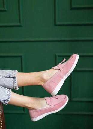 Женские лоферы  туфли замшевые весна/осень розовые