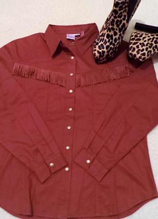 Рубашка в ковбойский стиль,кирпичного цвета