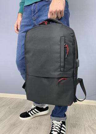 Мужской городской рюкзакс usb портом вместительный спортивный черный портфель стильный качественный