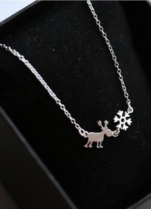 Нежная цепочка со снежинкой и оленем серебро 925 проба / большая распродажа!