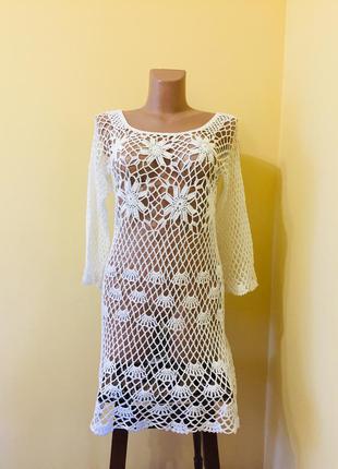 Белое ажурное платье туника для пляжа