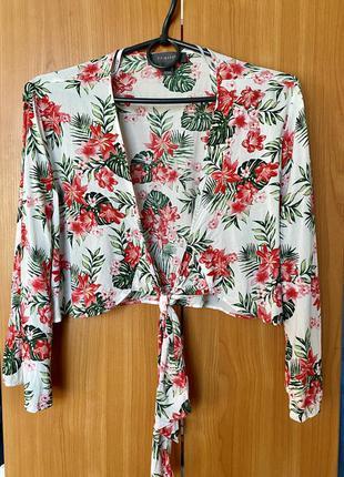 Блузка укороченная цветочный принт