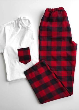 Штаны и футболка красная клетка пижама для дома и отдыха