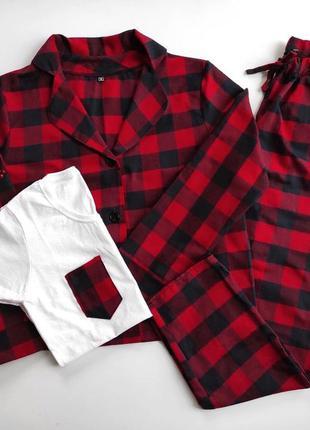 Пижама 3 в 1 красная клетка рубашка штаны футболка