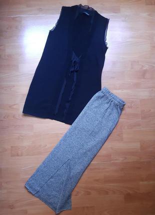 Тёплый трикотажный костюм : юбка макси с разрезом,  накидка