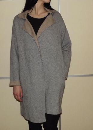 Легкое пальто /теплый , плотный кардиган от zara /накидка с нейлоном в составе