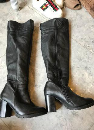 🆘🔥последняя цена до 30 сентября 🆘🔥   ботфорты кожаные натуральные на флисе на толстом каблуке