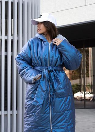Женский зимний пуховик одеяло с поясом