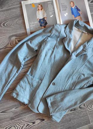 Пиджак женский голубо серый трикотажный на одной пуговице с карманами moscow l