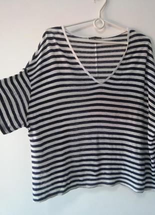 Трендовая льняная футболка оверсайз в полоску zara