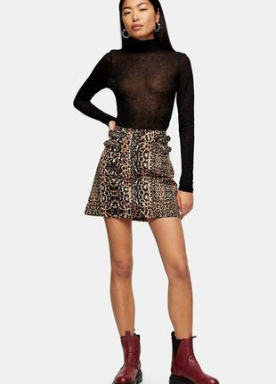 Джинсовая юбка topshop в анимал принт