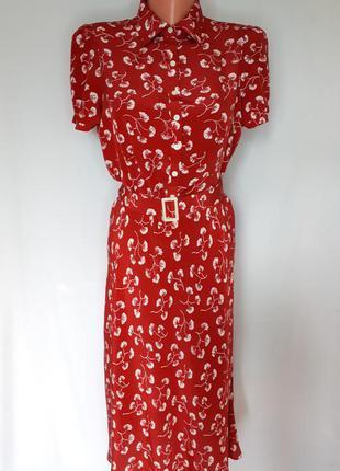 Шелковое чайное брендовое платье  lauren ralph lauren(размер 36)