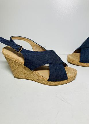Женские босоножки туфли на танкетке джинсовые сабо 35 36 размер