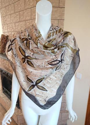 Винтажный большой шелковый полупрозрачный жатый платок цветочный принт абстракция