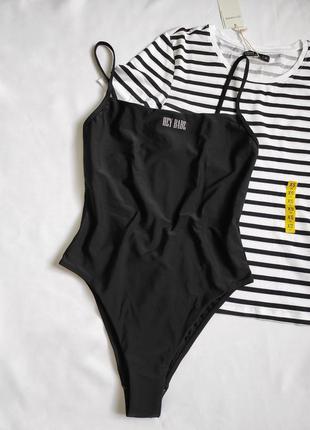 Новый сдельный купальник, черный цельный купальник