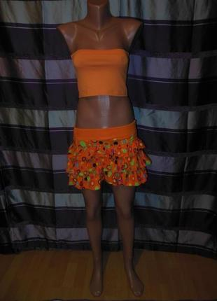 Летний яркий комплект юбка и топик
